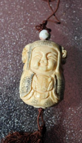Japanese/chinese Carved Bone Netsuke Bottle