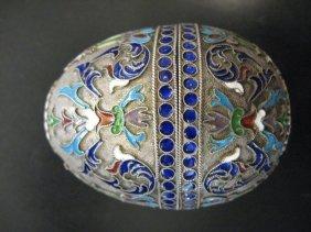 Russian Imperial Silver Enamel Egg, Yakov Borisov, 19 C