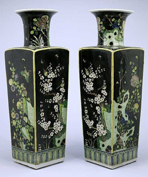chinese pair famille noir verte square vase kangxi 20. Black Bedroom Furniture Sets. Home Design Ideas