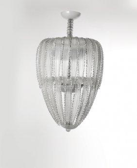 lampadario venini : VENINI Un lampadario, anni 30. 46 foglie : Lot 2158