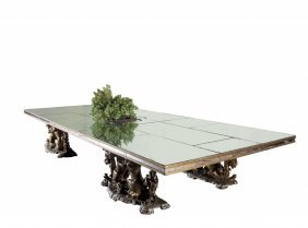 Grande Tavolo In Specchio Con Base Formata Da
