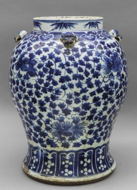 Grande Vaso Cinese In Porcellana Bianca E