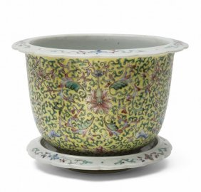 Cachepot In Porcellana Con Sottopiatto A Fondo