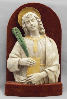 """""""san Giovanni"""" Altorilievo In Terracotta,"""