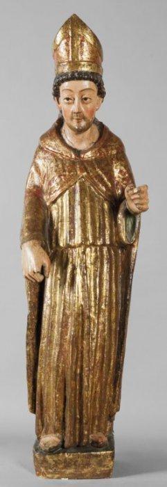 Santo Vescovo, Scultura In Legno Intagliato E