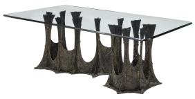 Paul Evans Sculptured Bronze Signed Dining Table