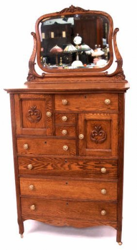 471 American Antique Oak Hi Boy Double Hat Box Dresser
