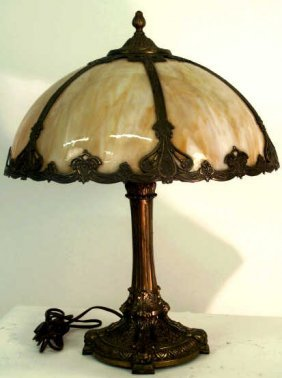 480 Antique Slag Glass Lamp Salem Brothers Lot 480