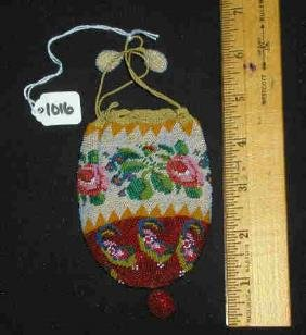 ANTIQUE DRAWSTRING BEADED PURSE
