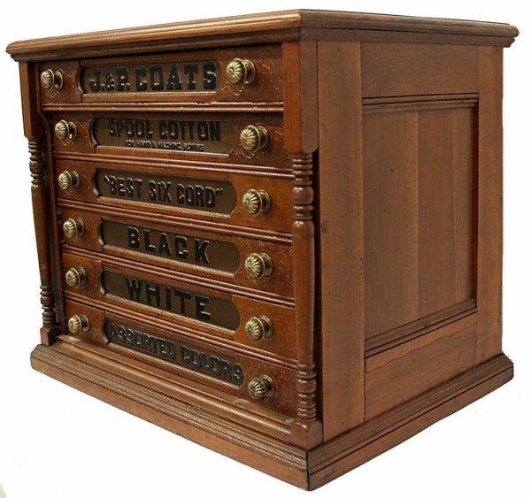 Antique J Amp P Coats Six Drawer Spool Cabinet Lot 72
