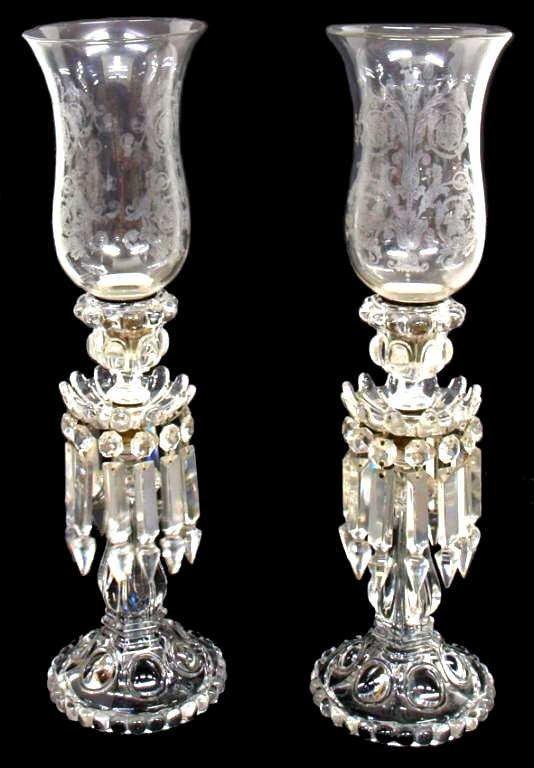 Original Baccarat Crystal Prism Hurricane Lamps Lot 265