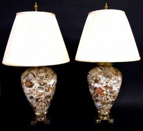 Pair Custom Made Sea Shell Filled Table Lamps Lot 52