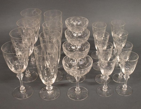 fine set of antique cut etched crystal stemware lot 407
