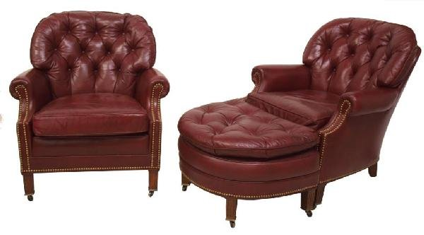 Hancock Amp Moore Leather Club Chair Amp Ottoman Lot 609