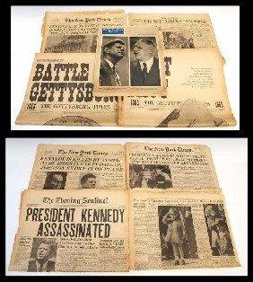 (8) CIVIL WAR GETTYSBURG & KENNEDY NEWS PAPERS