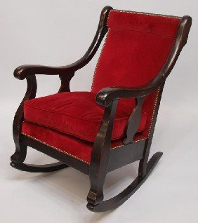 41 American Empire Revival Mahogany Rocking Chair Lot 41