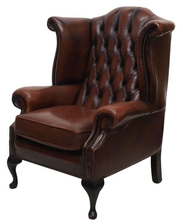 125 ENGLISH QUEEN ANNE LEATHER WINGBACK CHAIR Lot 125