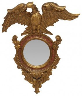 19TH C. SPANISH EAGLE CARVED GILTWOOD WALL MIRROR
