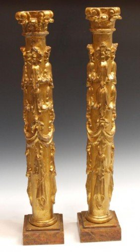 19TH C. SPAIN CARVED & HEAVILY GILDED WOOD COLUMNS