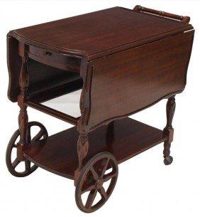 392 Mahogany Drop Leaf Tea Cart Drawer Amp Glass Tray