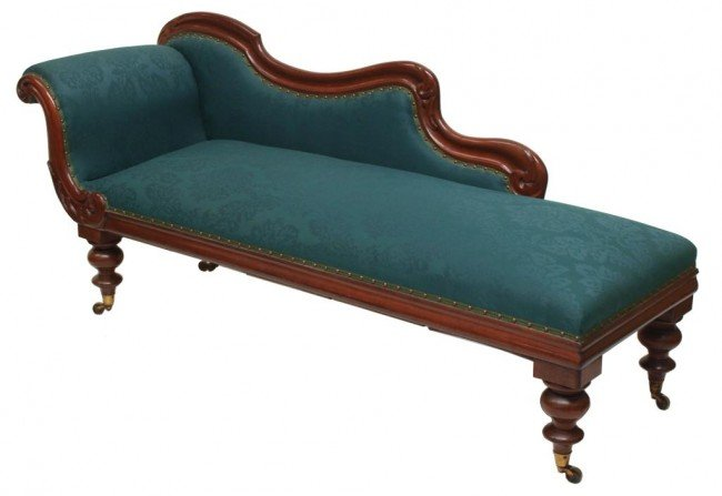100 victorian carved mahogany chaise lounge lot 100 for Carved chaise lounge