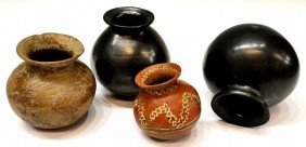 (4) MEXICO POTTERY, BLACK SIGNED DONA ROSA