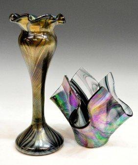 (2) ART GLASS VASES, ONE SIGNED