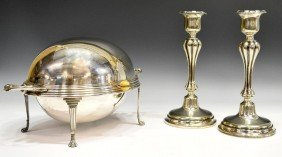 SILVER PLATE RUSSIAN CANDLESTICKS & DOMED DISH