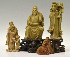 GROUP OF CHINESE CARVED SOAPSTONE FIGURES