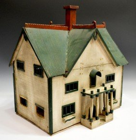 AMERCAN FOLK ART MODEL OF A TWO STORY HOUSE