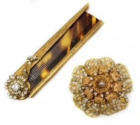 VINTAGE MIRIAM HASKELL BROOCH & FAUX TORTOISE COMB