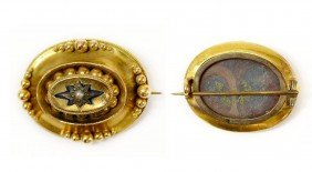 VICTORIAN 13/14KT GOLD FANCY WOVEN HAIR BROOCH