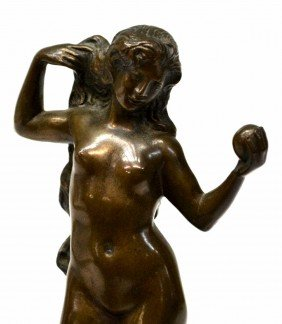 GERMAN BRONZE SCULPTURE, NUDE FEMALE