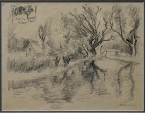 FRAMED DRAWING LANDSCAPE, GUSTAV LIKAN (1912-1988)