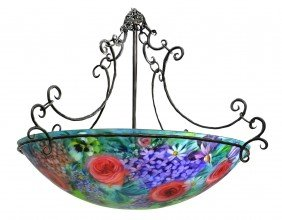 HAND PAINTED SIGNED FLORAL CHANDELIER, ULLA DARNI