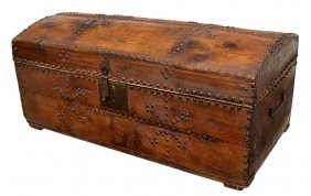 19TH C. PINE DOME TOP TRUNK APPLIED METAL TACKS