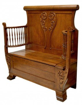 AMERICAN GOLDEN OAK HALL OR ENTRY BENCH