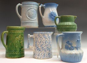 (6) GLAZED POTTERY PITCHERS, INDIAN CHIEF, BERRIES