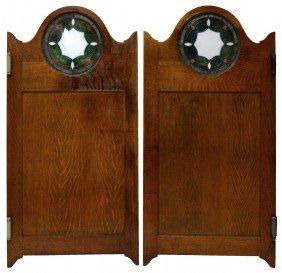 (PAIR) AMERICAN OAK & STAINED GLASS SALOON DOORS