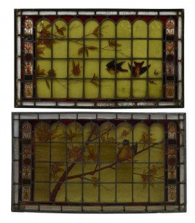 (2) LEADED STAINED GLASS PANELS HAND PAINTED BIRDS