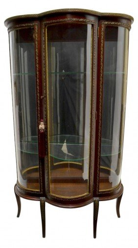 LOUIS XV STYLE CURVED GLASS DISPLAY CABINET