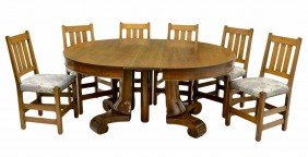 AMERICAN OAK ROUND DINING TABLE & SIX CHAIRS