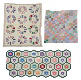 (3) FLORAL & PATCH VINTAGE HAND SEWN QUILTS