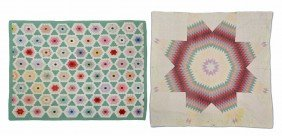 (2) COLORFUL VINTAGE HAND SEWN QUILTS