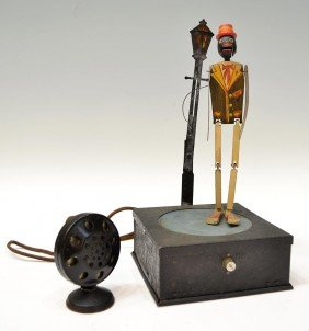 NATIONAL CO. MICROPHONE DANCING SAM TOY, C. 1930'S