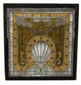 LARGE & ORNATE LEADED & STAINED GLASS WINDOW