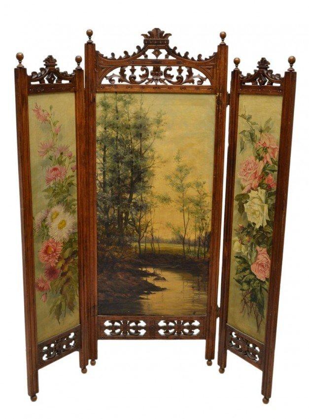Wooden Dressing Screen ~ Victorian dressing screen artist signed painting