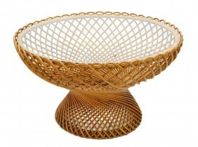 LARGE ITALIAN MID-CENTURY GLASS & RATTAN TABLE