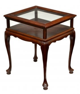 DIMINUTIVE GLASS TOP DISPLAY TABLE
