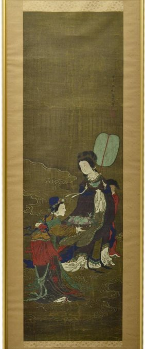 FRAMED JAPANESE SCROLL PAINTING, AFTER TANI BUNCHO